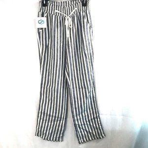 Love Tree striped linen high rise pull on pants S